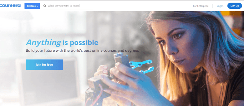 Screenshot of Coursera homepage