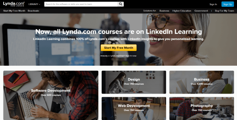Screenshot of Lynda.com homepage