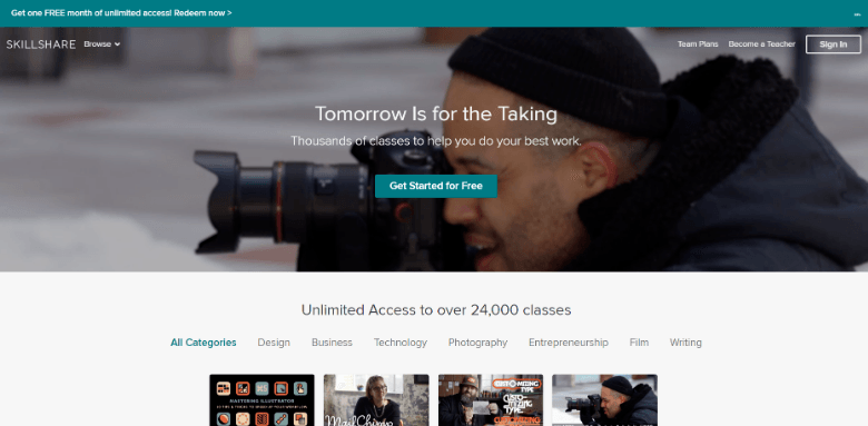 Screenshot of Skillshare homepage