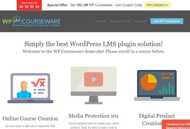 Screenshot of homepage of WP Courseware