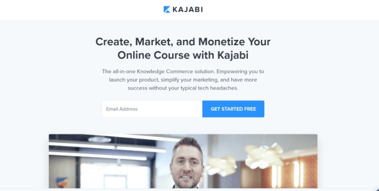 Screenshot of Kajabi homepage