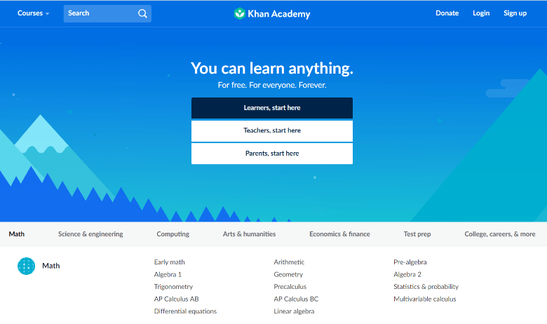 Screenshot of Khan Academy homepage