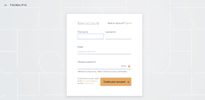 Screenshot of Thinkific sign-up page