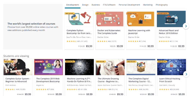 Screenshot of webpage showing Udemy courses on sale