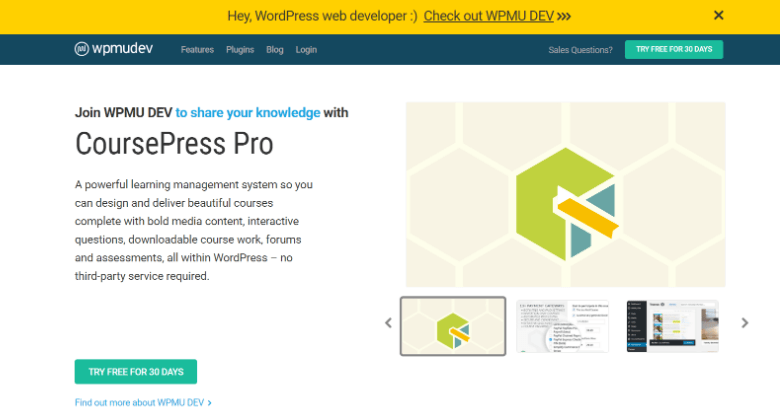 Screenshot of CoursePressPro homepage