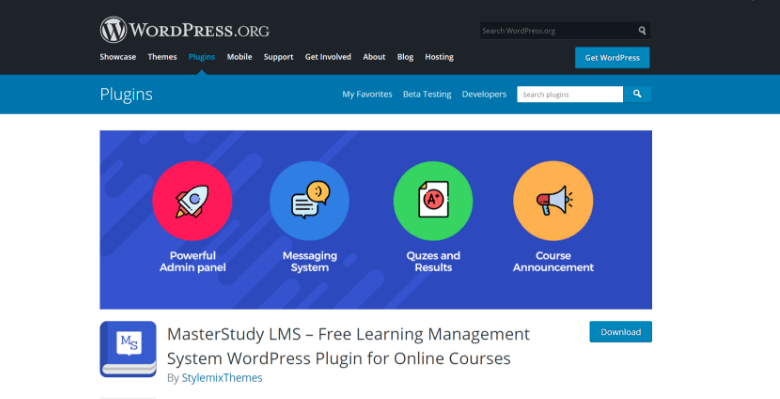 Screenshot of MasterStudy homepage