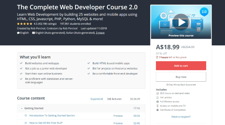 Screenshot of Udemy's web development course webpage