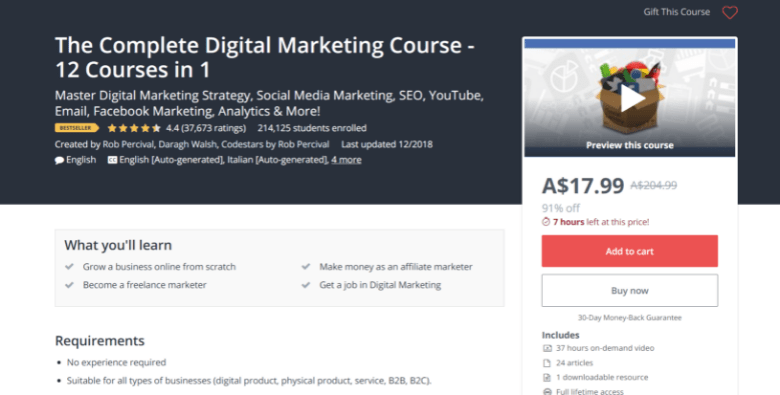 Screenshot of Udemy's digital marketing course webpage