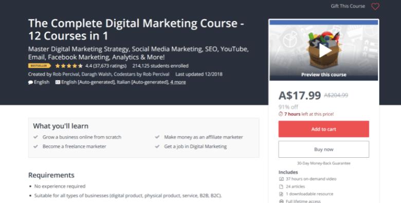 Screenshot of Udemy's digital marketing course webpage