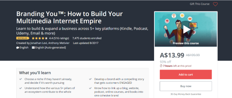 Screenshot of Udemy Branding You course webpage