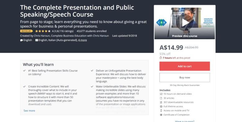 Screenshot of Udemy's public speaking webpage