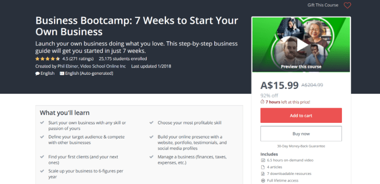 Screenshot of Udemy's Business Bootcamp course webpage