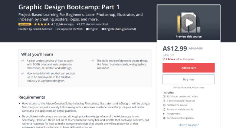 Screenshot of Udemy's graphic design course webpage
