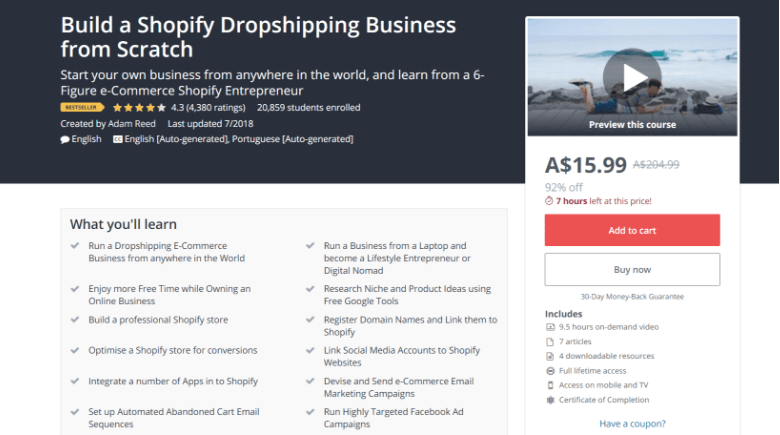 Screenshot of Udemy's Shopify dropshipping course webpage