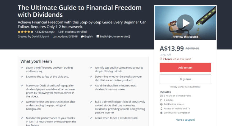Screenshot of Udemy's Financial Freedom course webpage