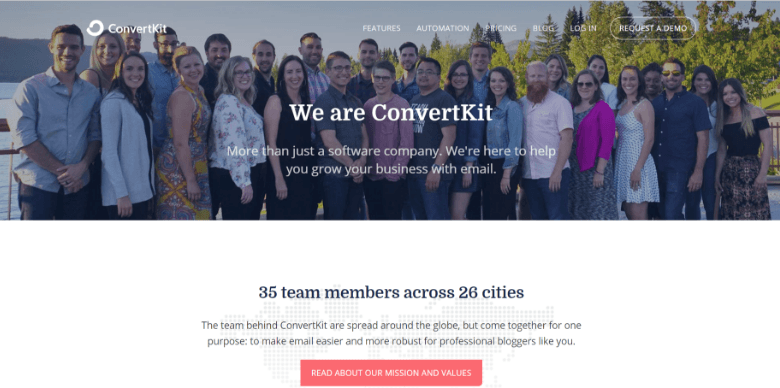 Screenshot of ConvertKit's about page