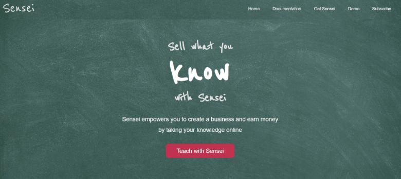 Screenshot of Sensei homepage
