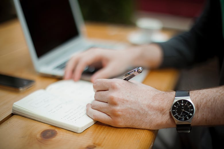 Man writes content for online cources