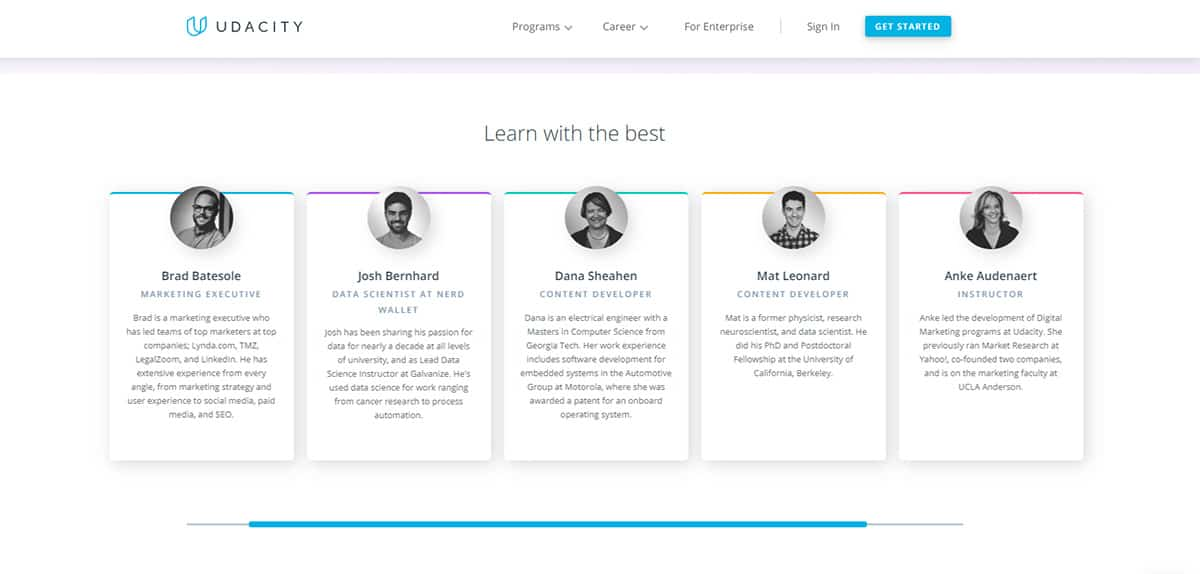 Instructors on the Udacity platform