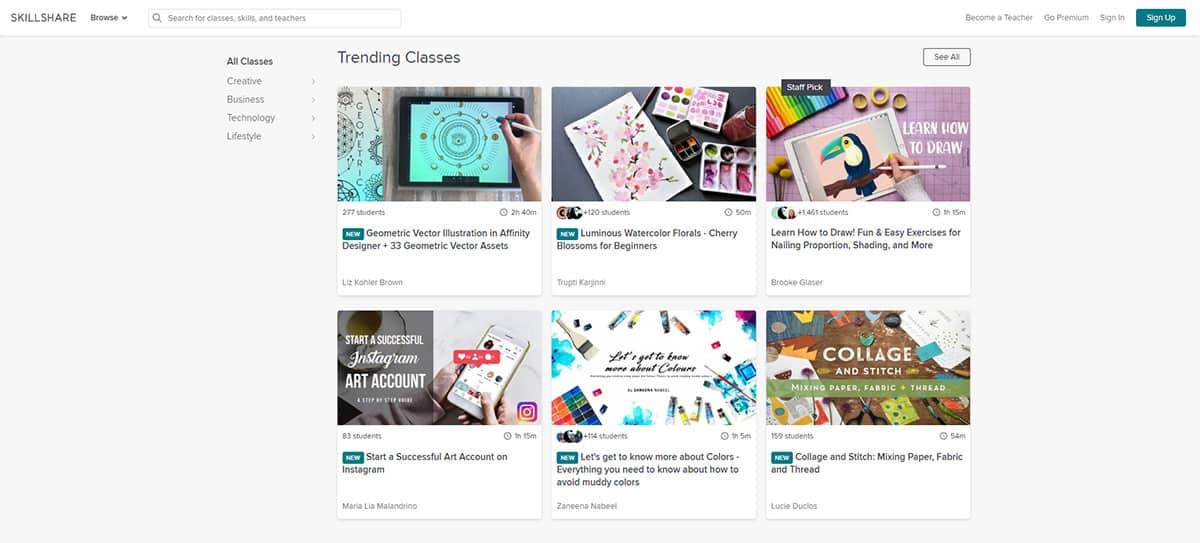 Skillshare catalogue of courses