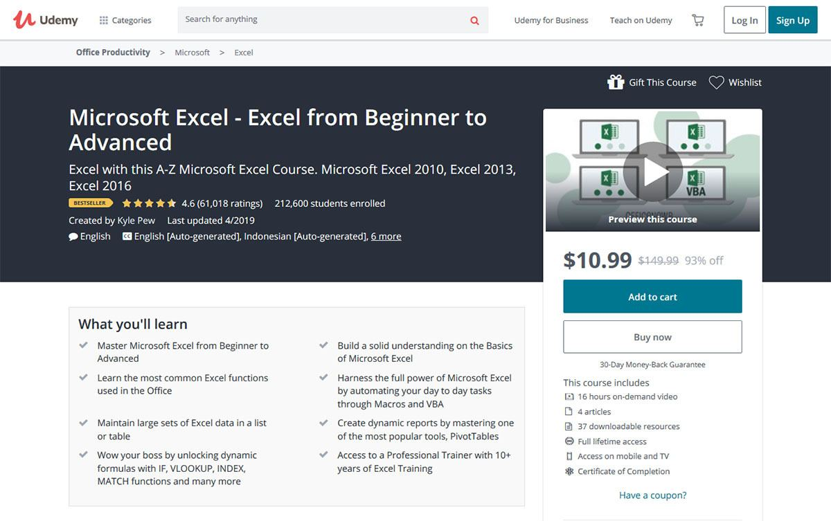 Microsoft Excel – From Beginner to Advanced - Udemy