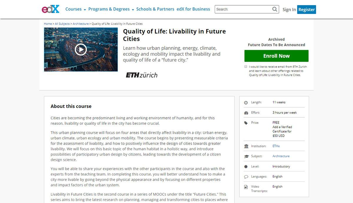 Quality of Life Livability in Future Cities edx