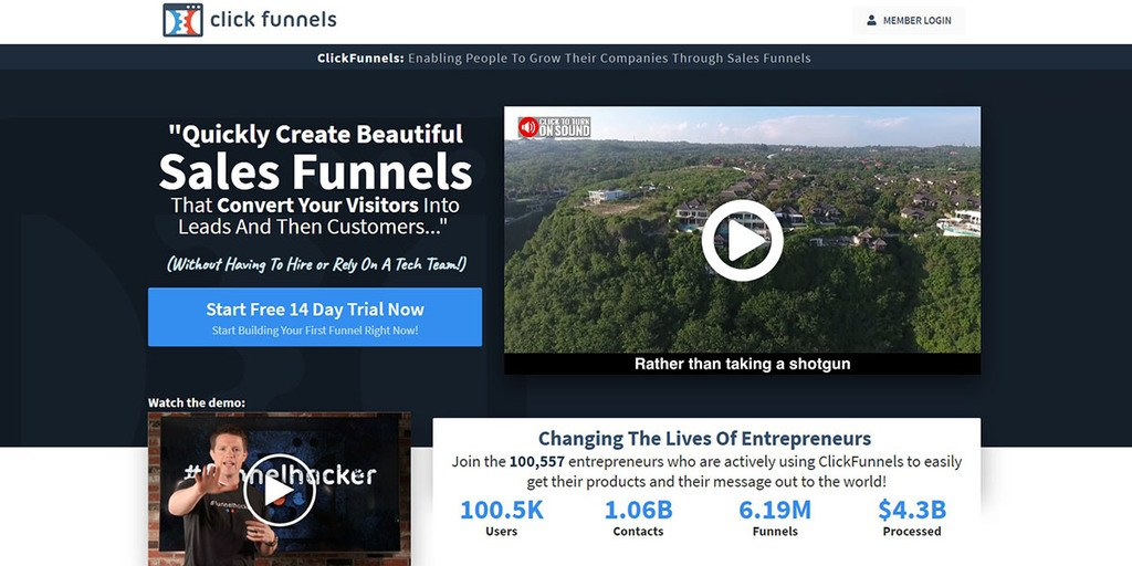 screenshoot of ClickFunnels