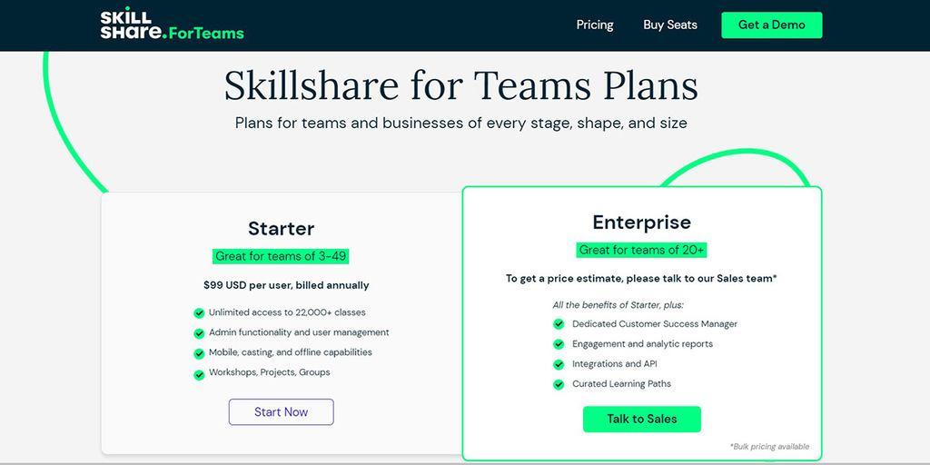 Skillshare for Teams Pricing