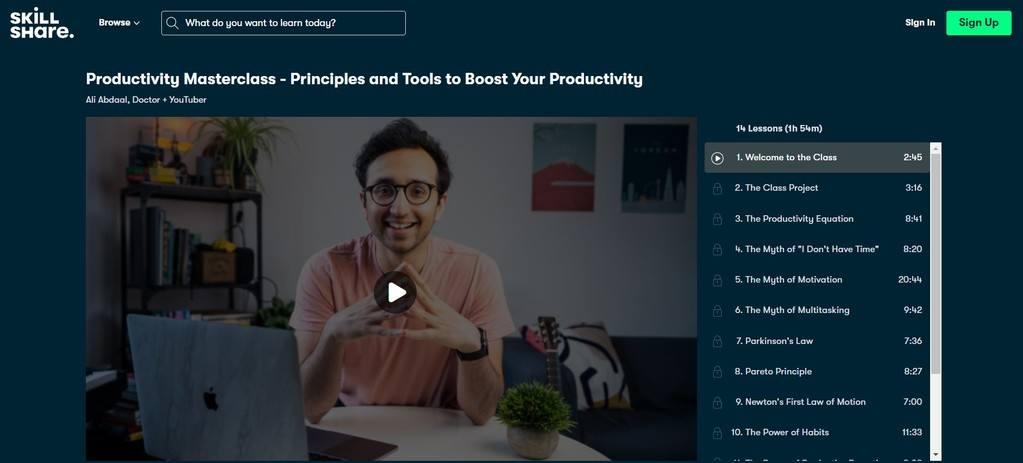 Skillshare online course example