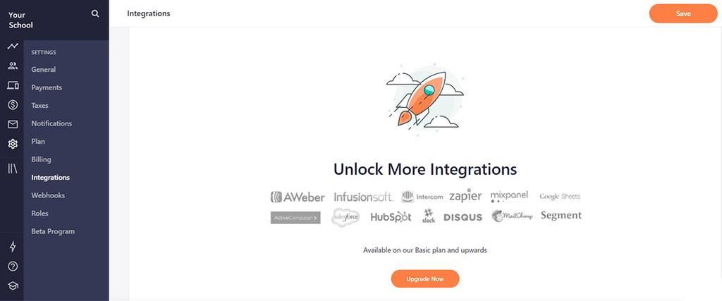 Teachable dashboard integrations