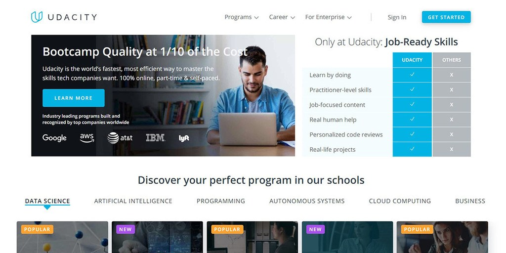 screenshoot of Udacity homepage online courses