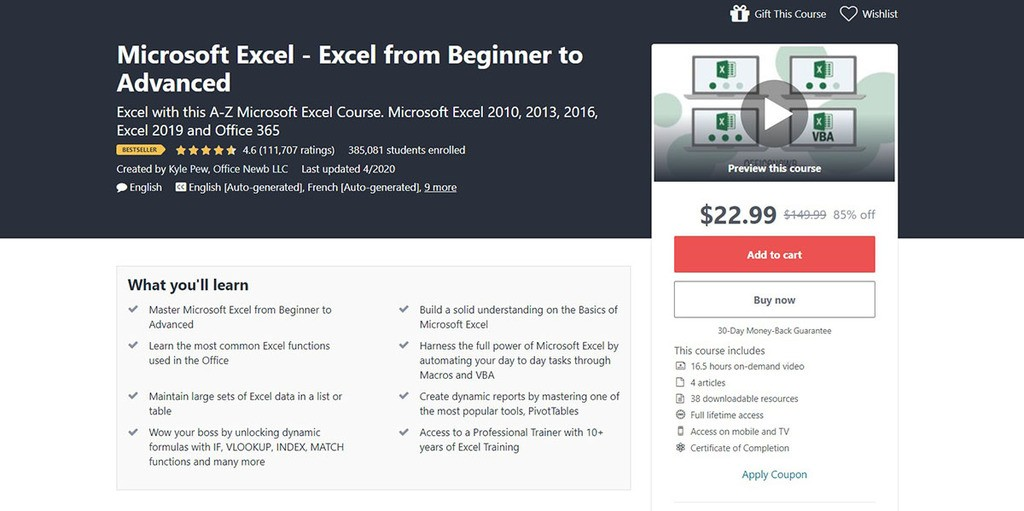 Udemy Course Quality Microsoft Excel