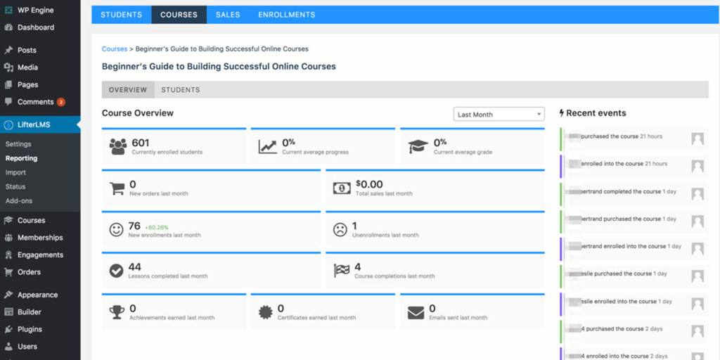 LifterLMS administration