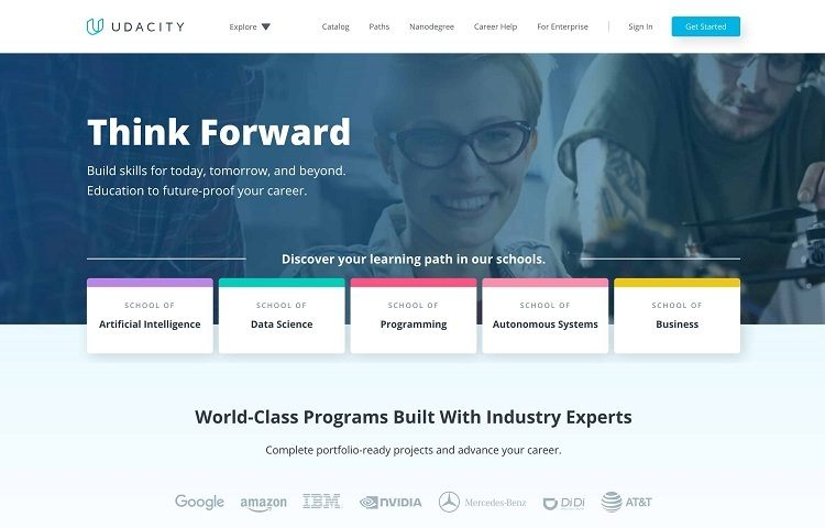 udacity homepage with courses