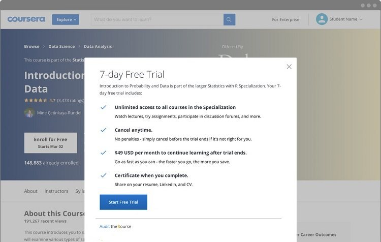 free trial classes on coursera