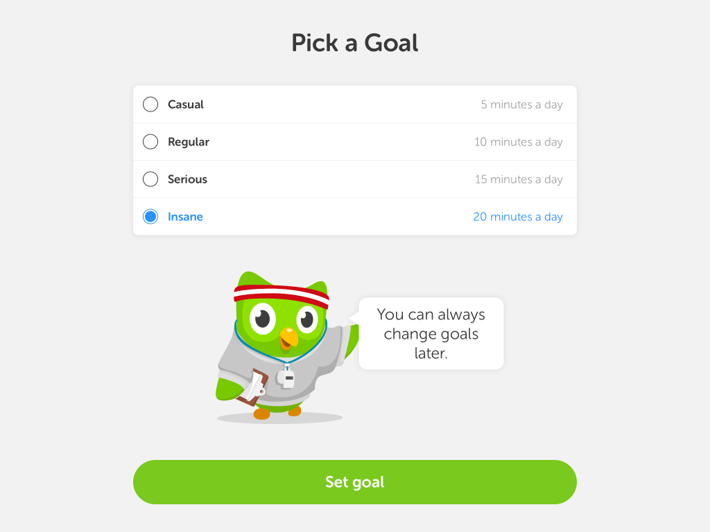 goal methods in duolingo
