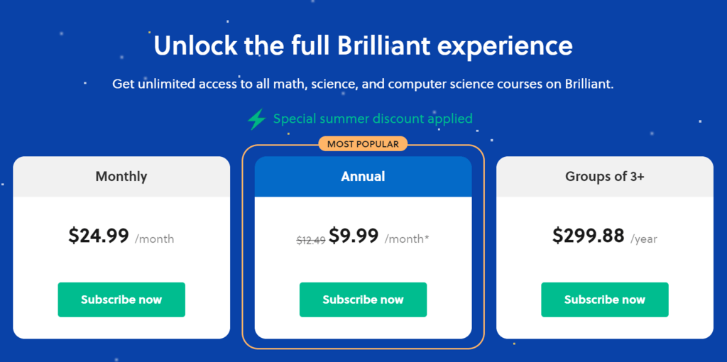 Brilliant.org Pricing Plans